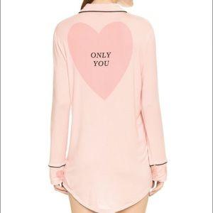 WILDFOX Only You Heart Button Down Sleep Shirt